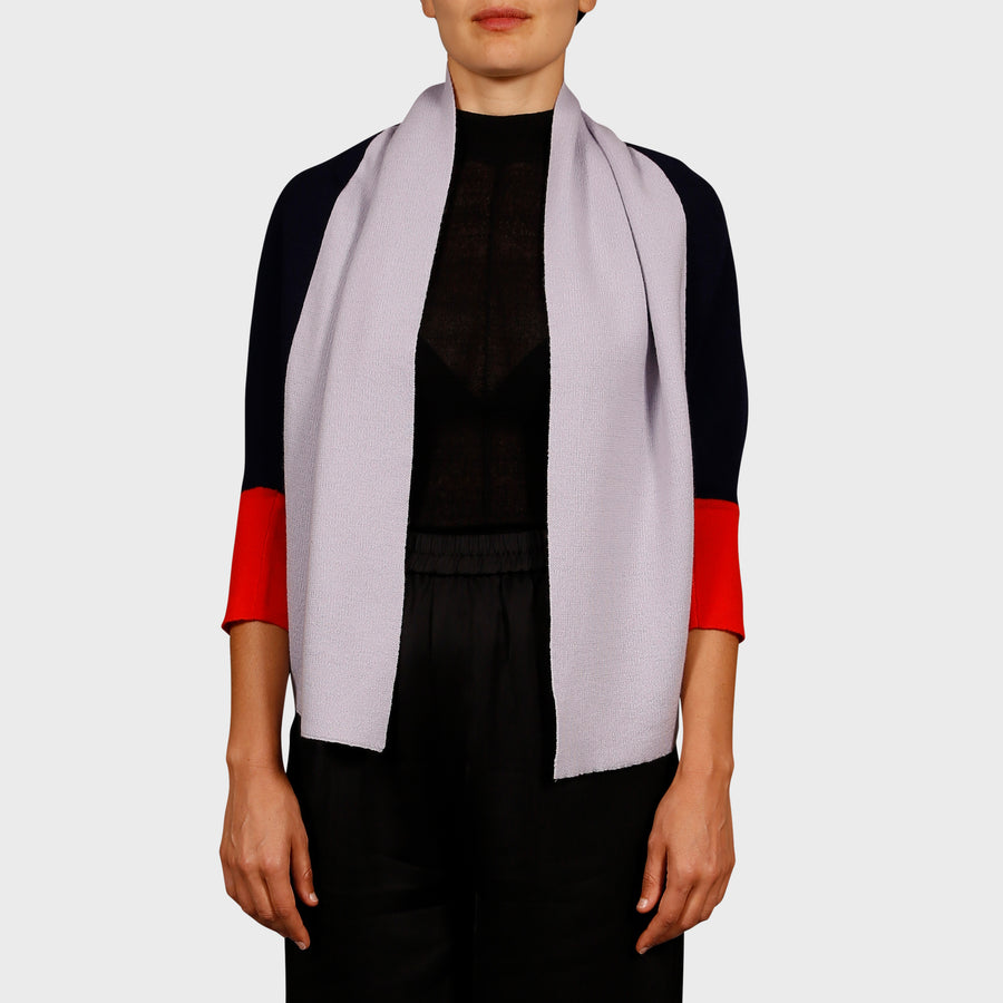 NEEMA KNIT CARDI / NAVY-LILAC-RED