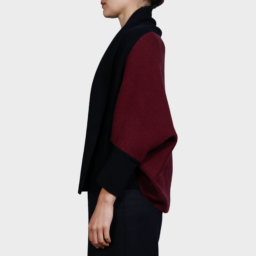 NEEMA KNIT CARDI / WINE-BLACK