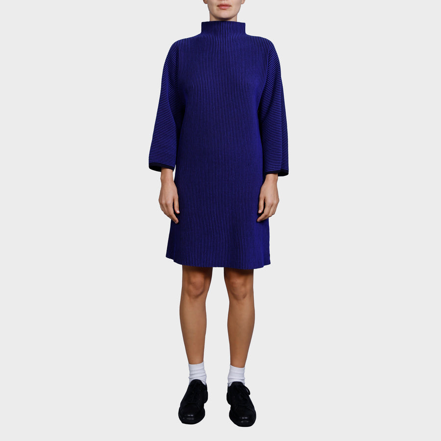 CHAR KNIT DRESS / NAVY-COBALT