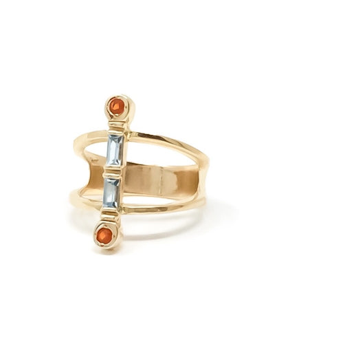 women's gold ring with blue topaz and mexican fire opals