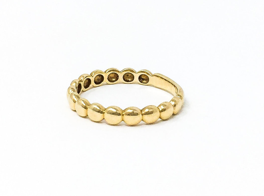 women's gold bead band stackable ring