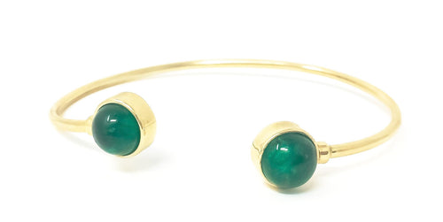 women's gold cuff bracelet with emerald cabochons