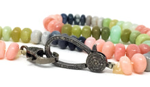 Load image into Gallery viewer, women's necklace made of sherbet opals with a black oxidized pave diamond clasp