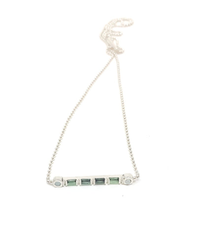 women's silver and gemstone necklace