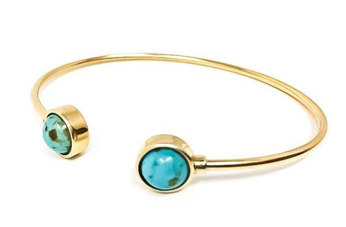 women's gold cuff with turquoise cabochons