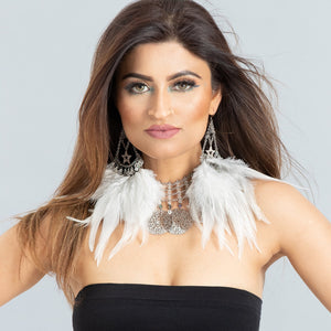 Serena Feather Chandelier Earrings