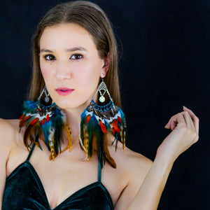 Arianna Feather Chandelier Earrings