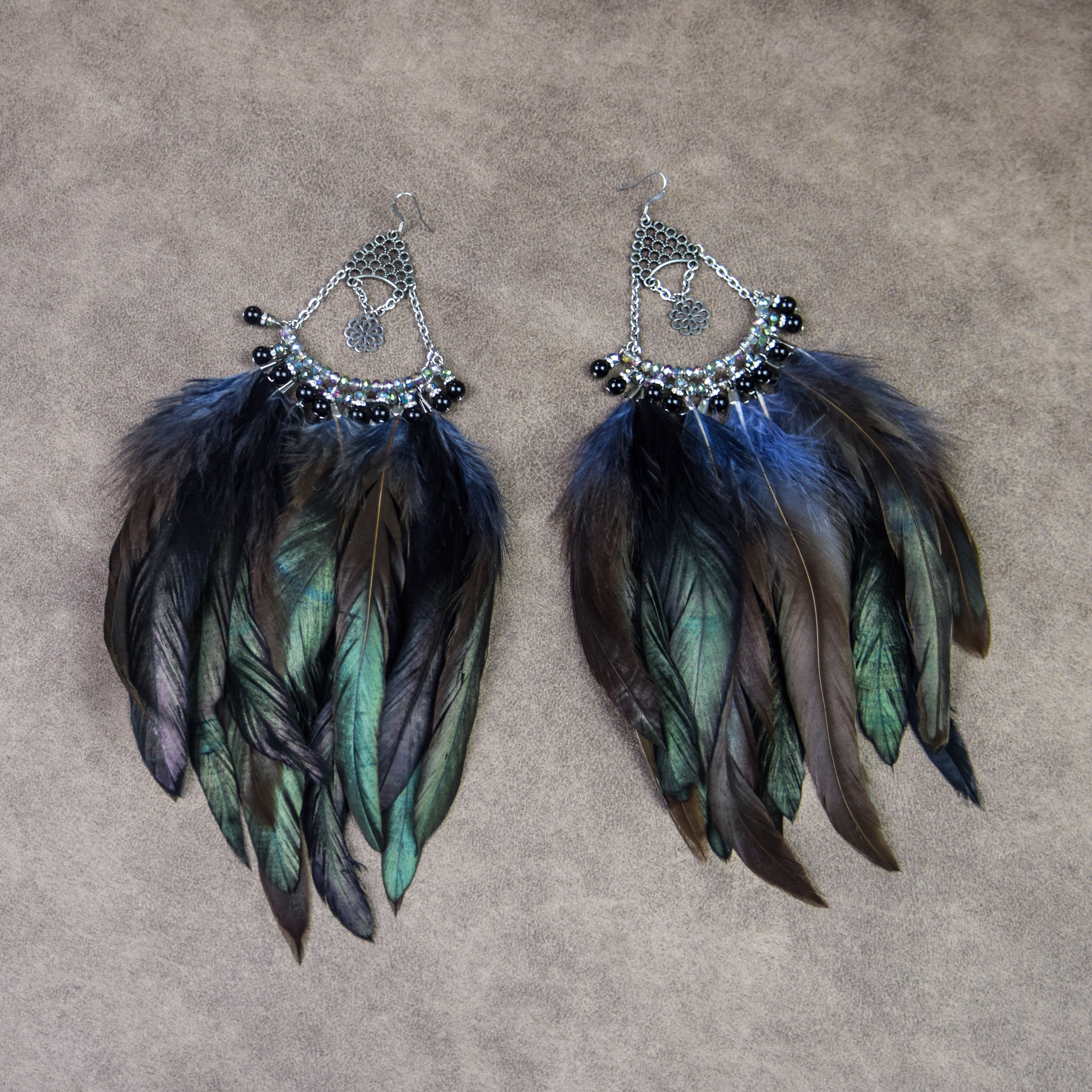 Sabrina Feather Chandelier Earrings