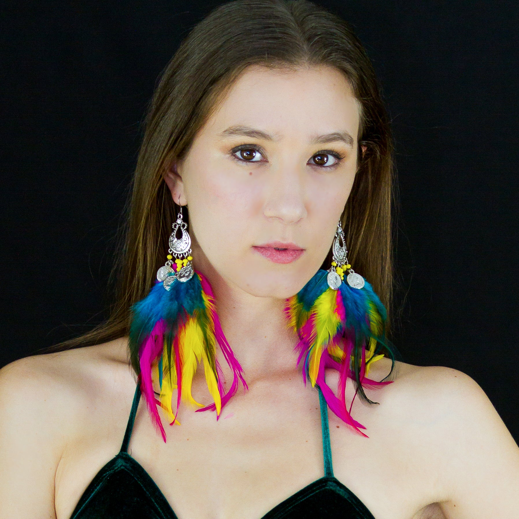 Esmerelda Feather Small Chandelier Earrings