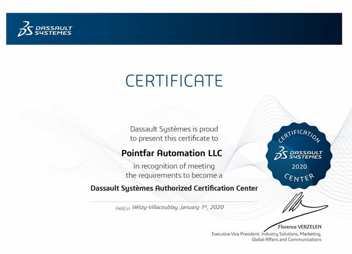 Pointfar Automation renews Dassault Systemes Authorization Certification center for 2020