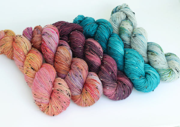 Fjordland Bloom ~5 set fade ~ Tweedy ~ Donegal Nep Merino Sock
