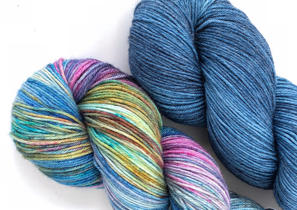 Siren Song 2 Skein Kit ~ Watercolour & Blue Steel ~ Grace Fingering ~ Silky Bamboo Merino