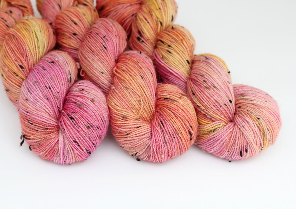 Pink Grapefruit ~ Tweedy ~ Donegal Nep Merino Sock