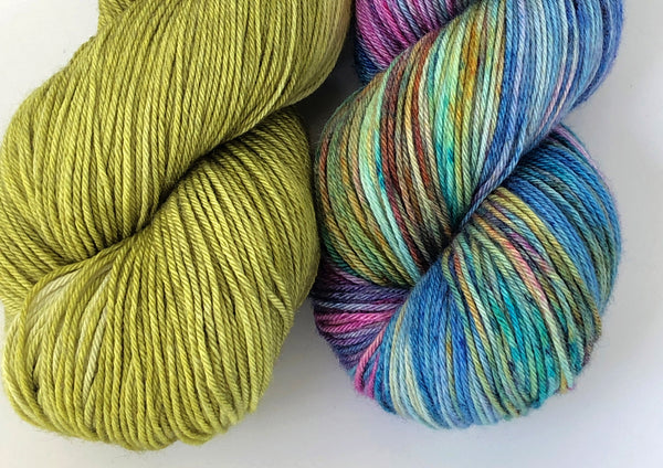 Siren Song 2 Skein Kit ~ Watercolour & Chartreuse ~ Grace Fingering ~ Silky Bamboo Merino