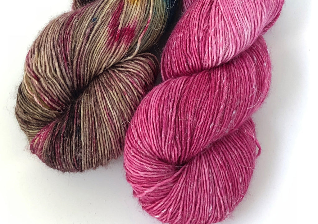 Siren Song 2 Skein Kit ~ Folklore & Berry ~ Merlin ~ Merino Linen Singles