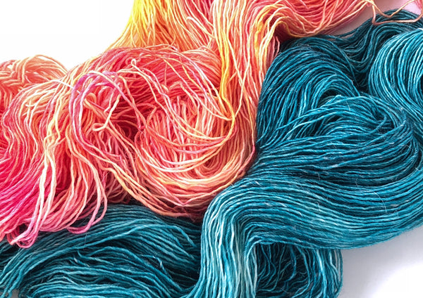 Siren Song 2 Skein Kit ~Pink Grapefruit & Blue Steel ~ Merlin ~ Merino Linen Singles