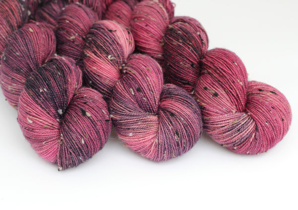 Winter Berry ~ Tweedy ~ Donegal Nep Merino Sock