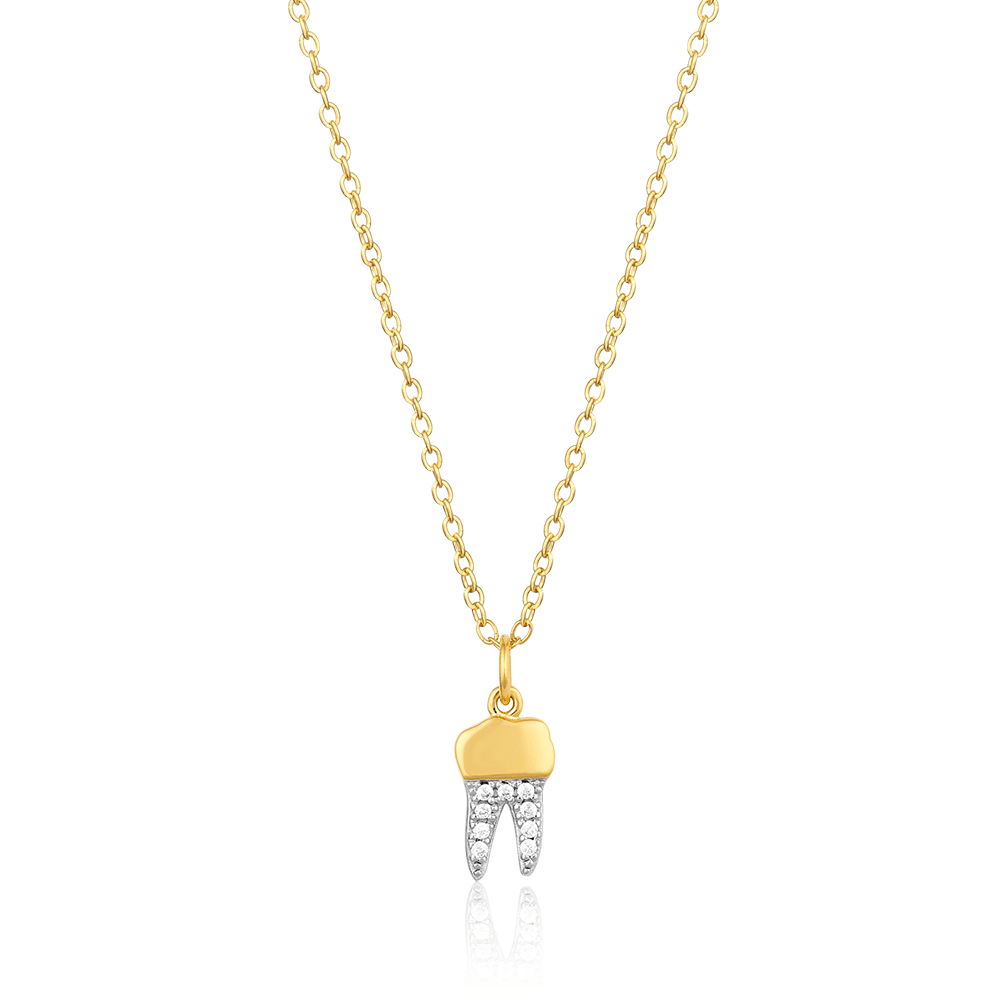 Gold Crown Pavé Tooth Necklace