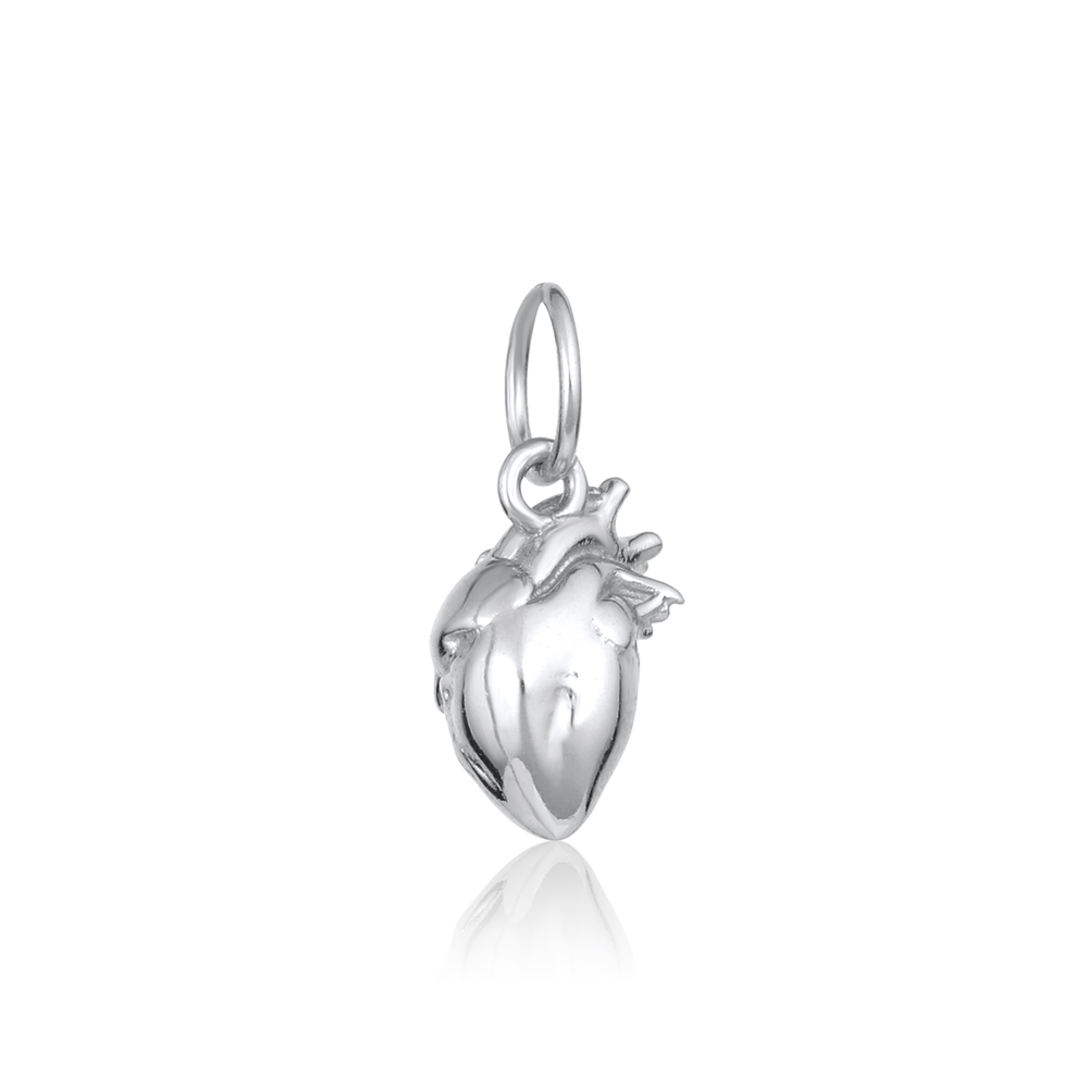 Anatomical Heart Charm (3D) - Sterling Silver - V Coterie