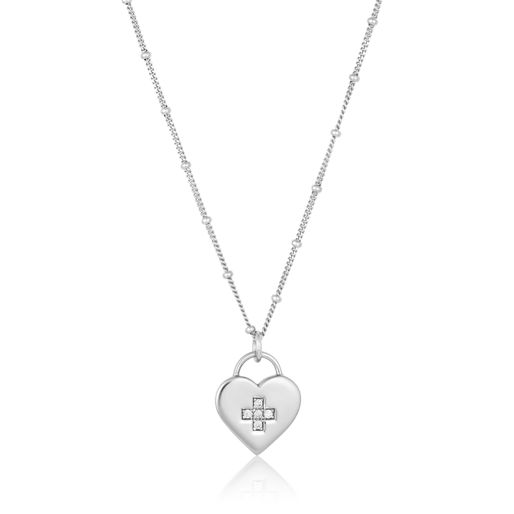 Medical Cross Heart Padlock Necklace - Sterling Silver