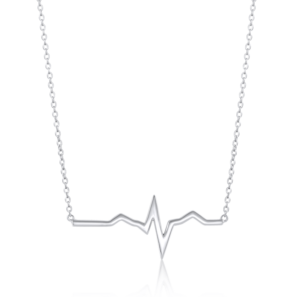 Solid Heartbeat Necklace - Sterling Silver