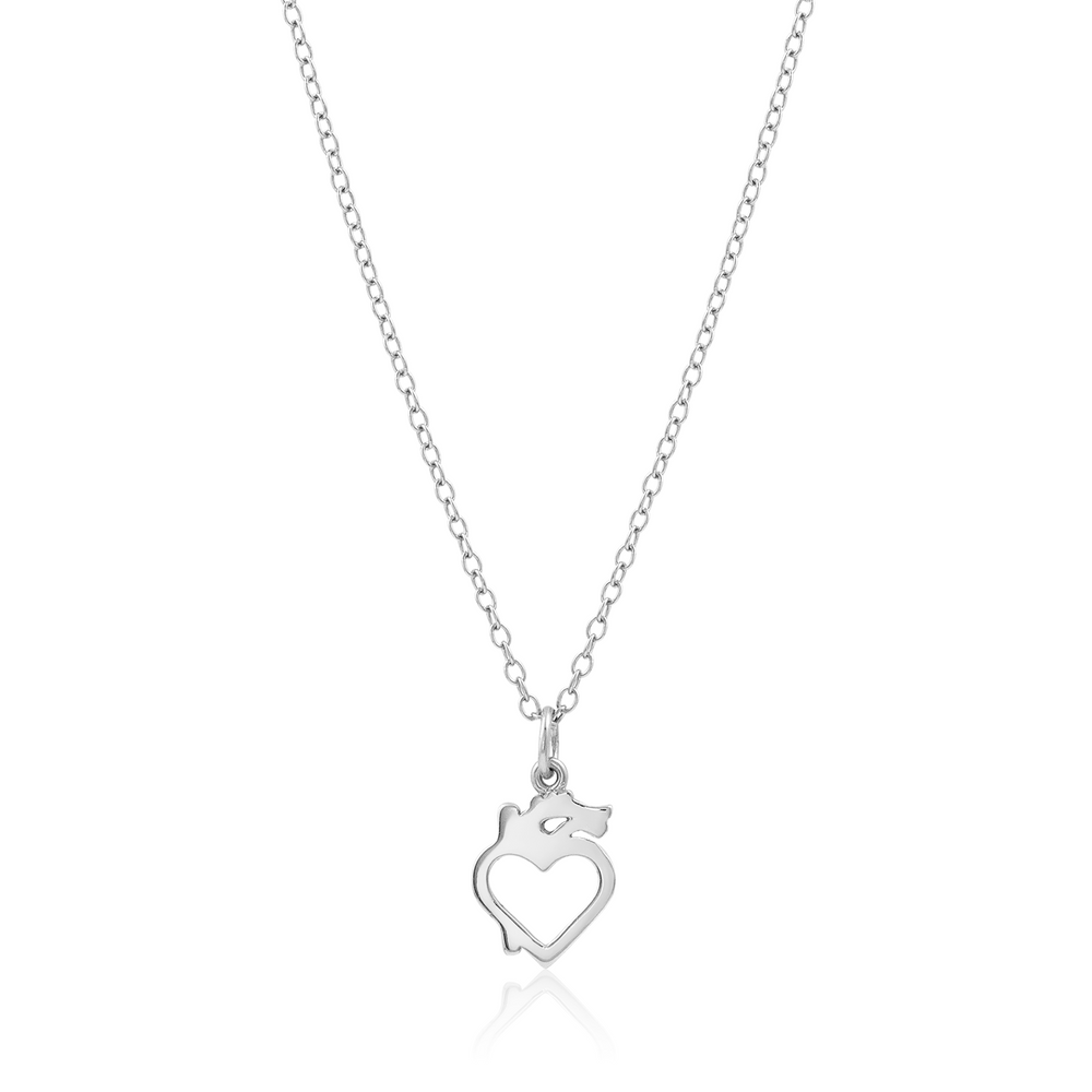 Hollow Modern Anatomical Heart Necklace - Sterling Silver