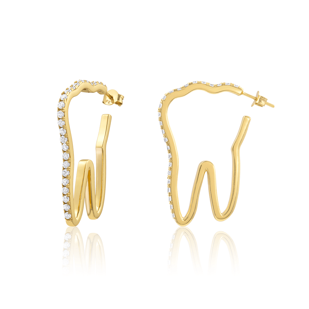 Large Tooth Pavé Hoops - Gold Vermeil