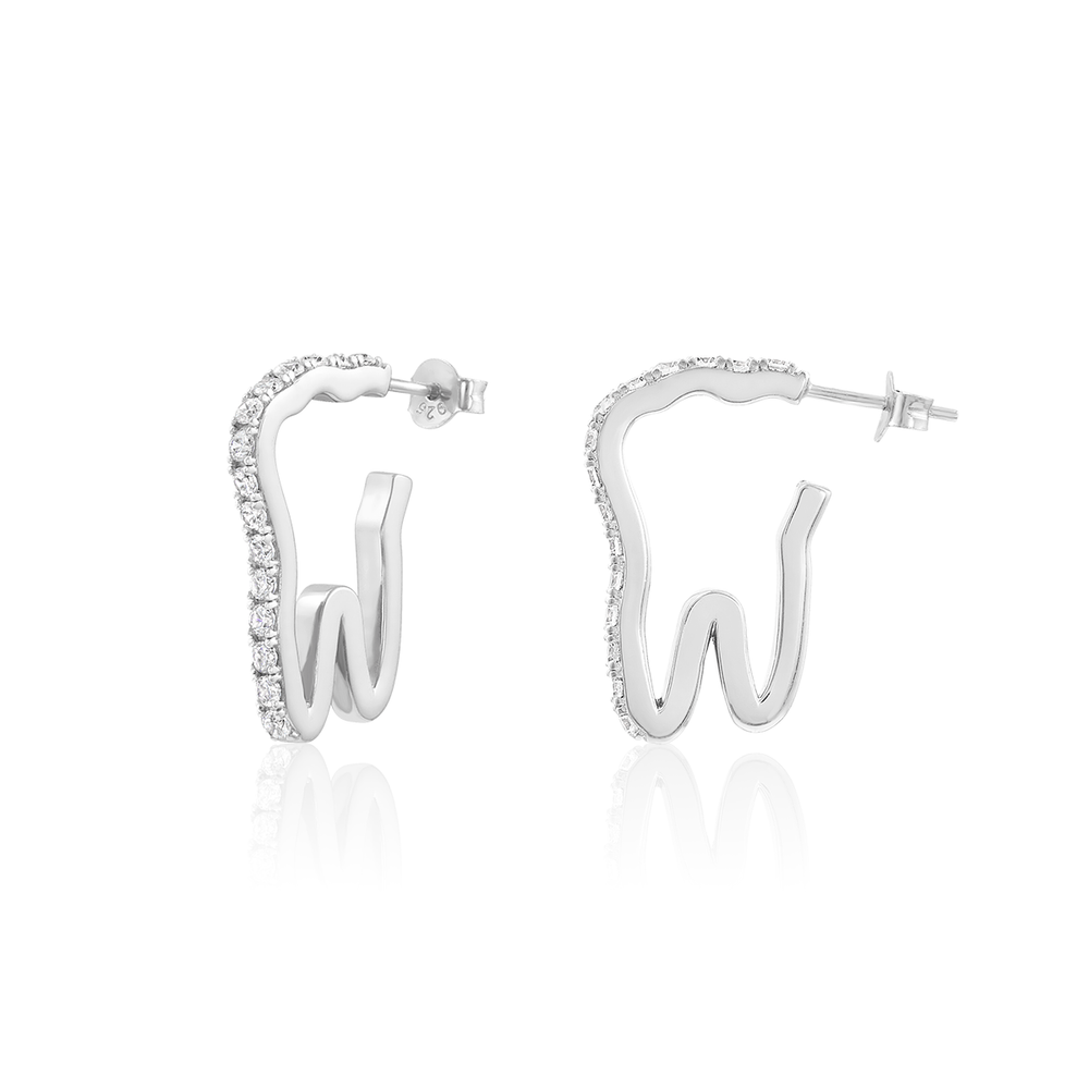 Mini Tooth Pavé Hoops - Sterling Silver