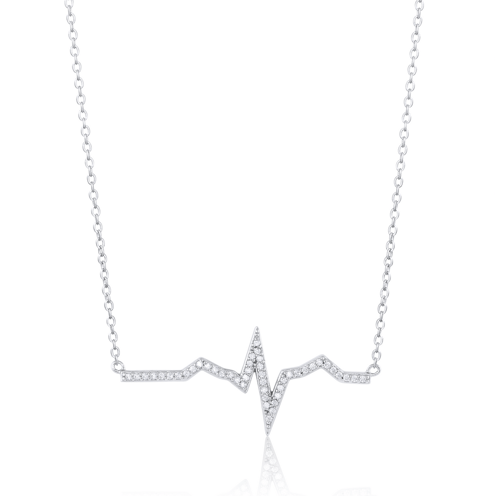 Pavé Heartbeat Necklace - Sterling Silver