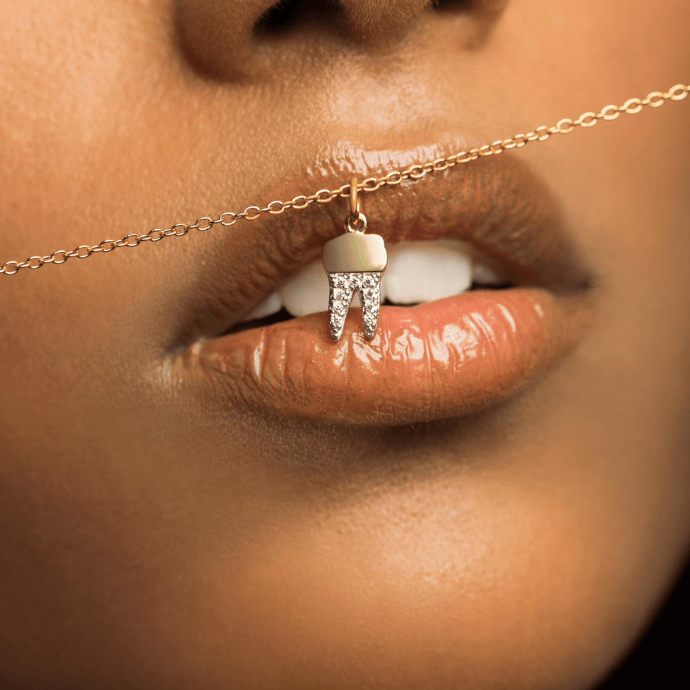 Gold Crown Pavé Tooth Necklace - V Coterie
