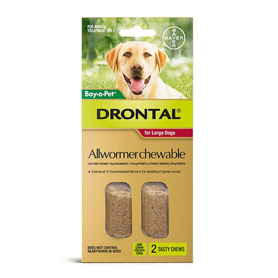 DRONTAL CHEWS 35KG LARGE 2'S