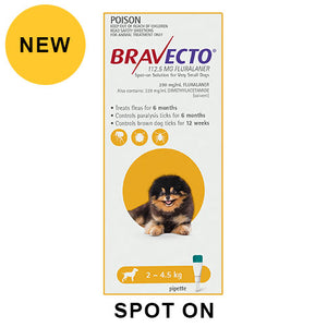 BRAVECTO SPOT-ON 2 - 4.5KG YELLOW