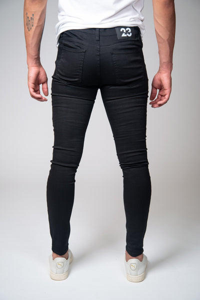 Jet Black Super Spray On Jeans - Knee Ripped - Jeans23