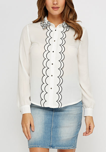Flower Trim White Blouse