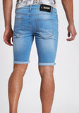 Men Skinny Denim Shorts Ripped Light Wash