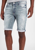 Men Skinny Denim Shorts Ripped - Light Blue