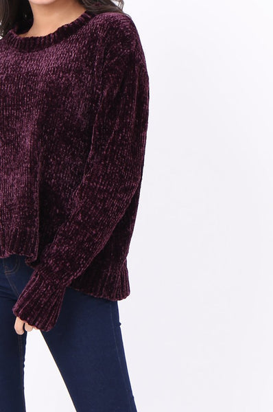 Purple Round Neck Chenille Jumper