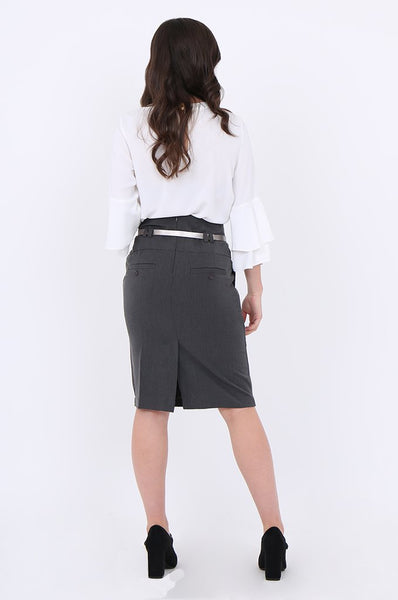 Grey Belted Front Pocket Pencil Skirt