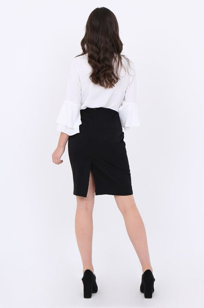 Black Button Detail Front Pocket Pencil Mini Skirt
