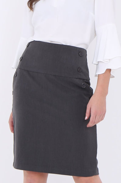 Grey Button Detail Front Pocket Pencil Mini Skirt