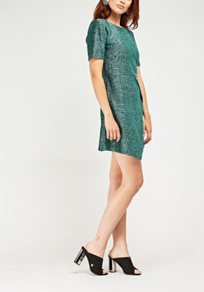 Metallic Green Textured Dress