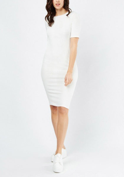 White Basic Midi Dress