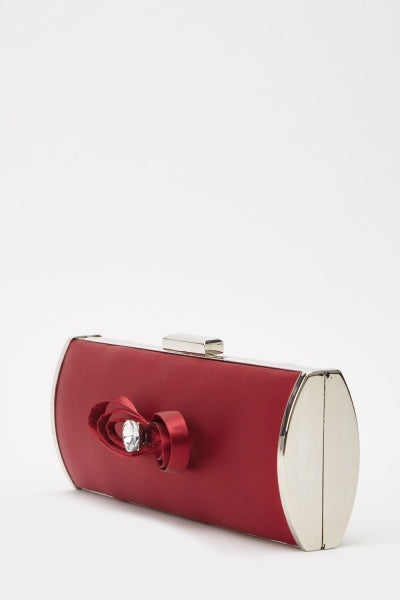 Bow Sateen Clutch Bag