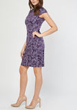 Purple Printed Cap Sleeve Dress