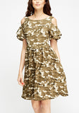 Camo Ruffle Skater Dress