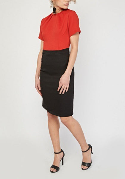 Red Black Contrasted Office Dress