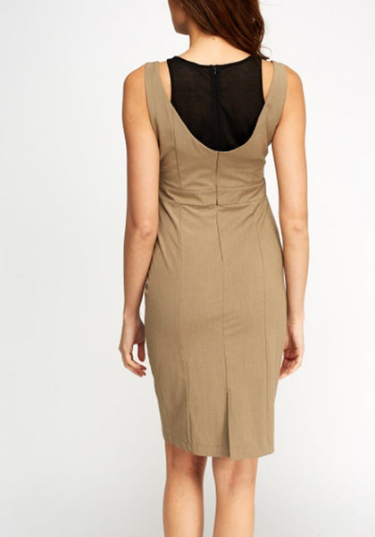 Light Brown Insert Shift Dress