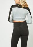 Grey Black Crop Sweatshirt