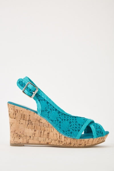 Crochet Overlay Cork Heel Sandals