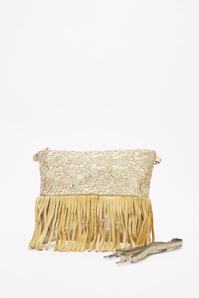 Gold Crochet Overlay Fringed Bag